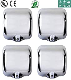 ( 4 Packs) Heavy Duty Commercial 1800 Watts Automatic Hand Dryer Stainless Steel