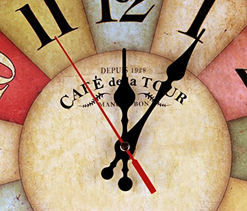 Wood Wall Clock, NALAKUVARA Vintage Colorful France Paris French Country Tuscan Retro Style Arabic Numerals Design Non -Ticking Silent Quiet Wooden Clock Gift Home Decorative for Room, 12-Inches 3
