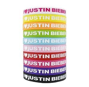 10pcs I LOVE JUSTIN BIEBER Bracelet Lot Belieber Silicon Wristband