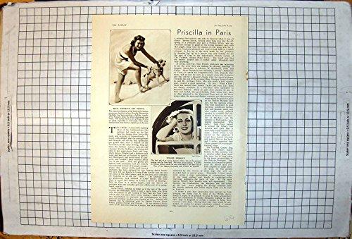Stampa D'annata delle Prigioni Romanzesche Femmes 1939 di Sig.na Hachette Dog Le Touquet Viviane