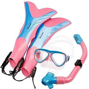 OXA Scuba Tauch Schnorchel Set mit Trockenschnorchel und Maske mit Glasfenster sowie Schwimmflossen (Kinder) (Rosa, L/XL(32-36))