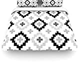 "Kess InHouse Pellerina Design ""Black White Moroccan"" Grey Geometric Queen Cotton Duvet Cover, 88 by 88-Inch"