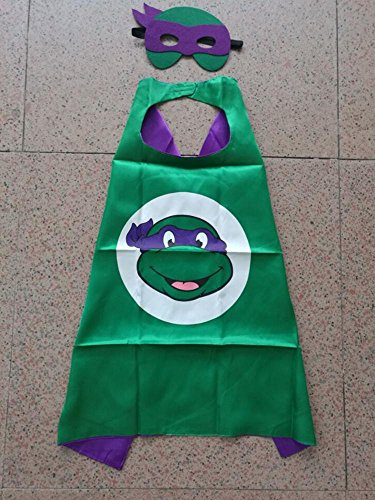 Superhero Halloween Party Cape and Mask Set for Kids 15+ Styles! (Teenage Mutant Ninja Turtles Donatello) (Real Ninja Weapons For Kids compare prices)