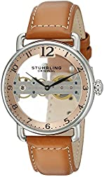 Stuhrling Original Men's 976.02 Bridge Mechanical Hand Wind Brown Leather Strap Watch