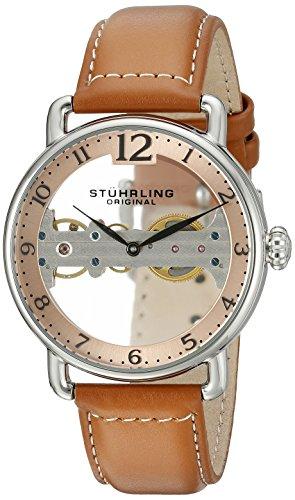 STUHRLING ORIGINAL Brücke Herren Automatik Uhr mit Rose Gold Zifferblatt Analog-Anzeige und braunem Lederband 976.02