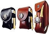 ベルト 通す スタイリッシュ な 携帯 用 ゴルフ ボール レザー ケース Aタイプ ブラウン