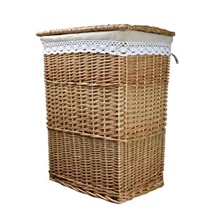 Rurality eco friendly wicker laundry basket with lid and linen liner kitchen home - Wicker laundry basket with liner and lid ...