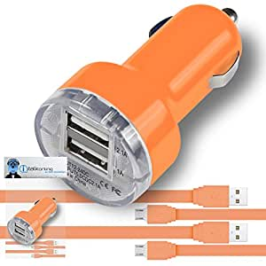 iTALKonline Yezz CC40 Orange Rapid 2000 mAh Compact Bullet DUAL Small Fast Travel DC 12V/24V In Car Charger USB Adapter with 2 x 1 Meter Flat Data Sync PC Laptop Charging Cable