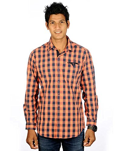 Campus Twills Premium Men's Cotton Checks Shirt Orange (Multicolor)
