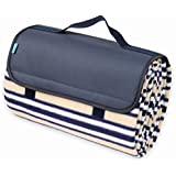 Yodo Water-Resistant Picnic Soft Fleece Blanket Tote (59 X 53 inches) Handy Outdoor Camping Park Games Rug for 4 seasons, Stripe