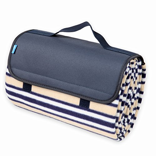 Yodo Water-Resistant Soft Fleece Picnic Blanket Tote (59 X 53 inches) for Outdoor Camping Travel Sporting Events Park Games, Navy Stripe