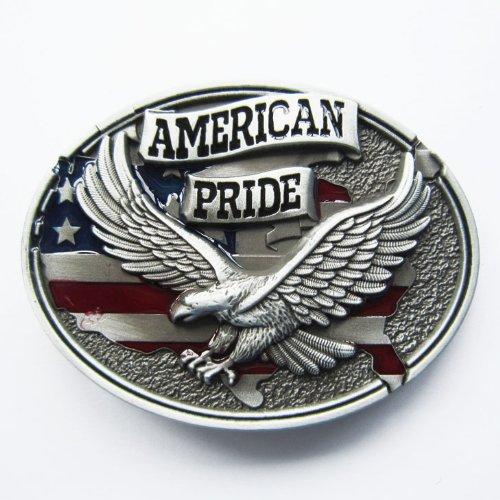 Pewter Style American Pride US Flag Soaring Eagle Belt Buckle WT-093