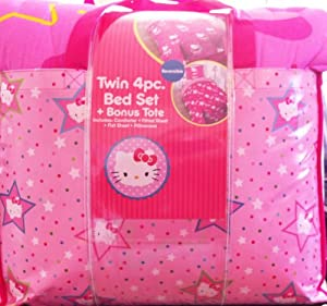 Hello Kitty Twin 4pc Comforter Set Top Star Pink
