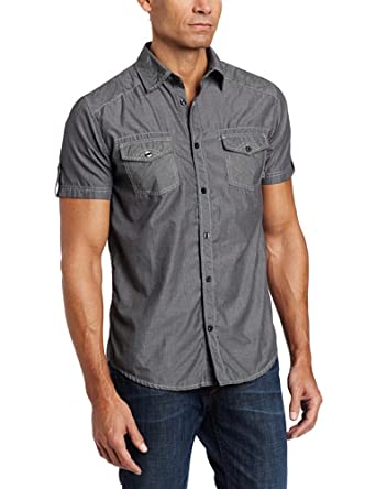 Company 81 Men's Short Sleeve Solid Woven, Black, Large