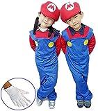 スーパーマリオ ルイージ 風 子供 なりきり 衣装 コスプレ 子供用 手袋 付き 赤 S