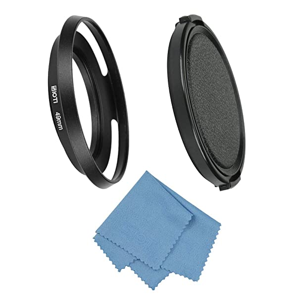 SIOTI Filmy Wide Angle Vented Metal Lens Hood with Cleaning Cloth and Lens Cap Compatible with Leica/Fuji/Nikon/Canon/Samsung Standard Thread Lens (Color: Wide Angle Vented, Tamaño: 49mm)