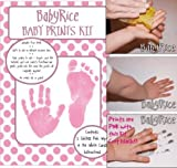 BabyRice New Baby Hand and Footprint Inkless Wipe Prints Kit (Pink)