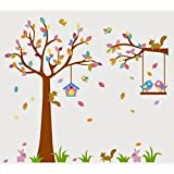 Colourful Tree And Bird Cage Wall Stickers J_MYYO_AB