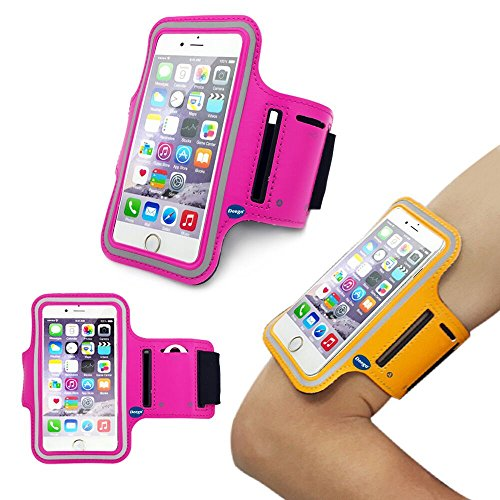 iPhone6 Plus Sports Armband, Nancy's shop Easy Fitting Sports Universal Armband With Build In Screen Protect Case Cover Running band Stylish Reflective Walking Exercise Mount Sports Sports Rain-proof Universal Armband Case+ Key Holder Slot for Iphone 6 Plus (5.5 Inch) (Hot pink)