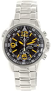 Seiko Black Dial Stainless Steel Mens Watch SSC077