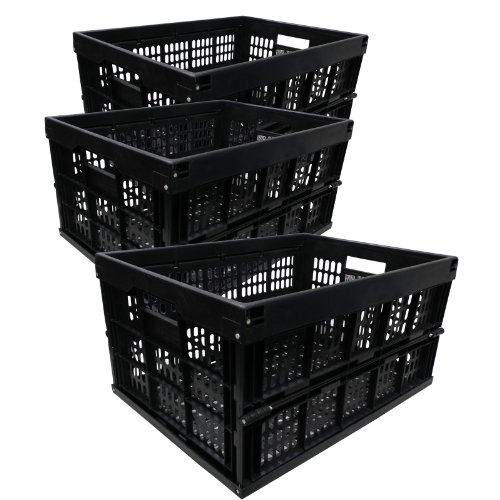 3x 33L Black Heavy Duty Plastic Folding Storage Crate Collapsible Stacking Boxes