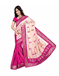 Temptingg Fashions Pink Chanderi Embroidery And Lace Border Work Saree