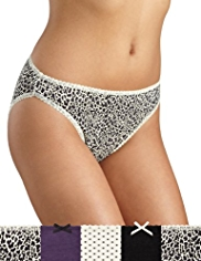 5 Pack Cotton Rich Animal Print High Leg Knickers