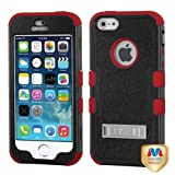 Hybrid Dual Layer Hard Gel Protector Cover With Metal Stand For Apple iPhone 5S, Black/ Red
