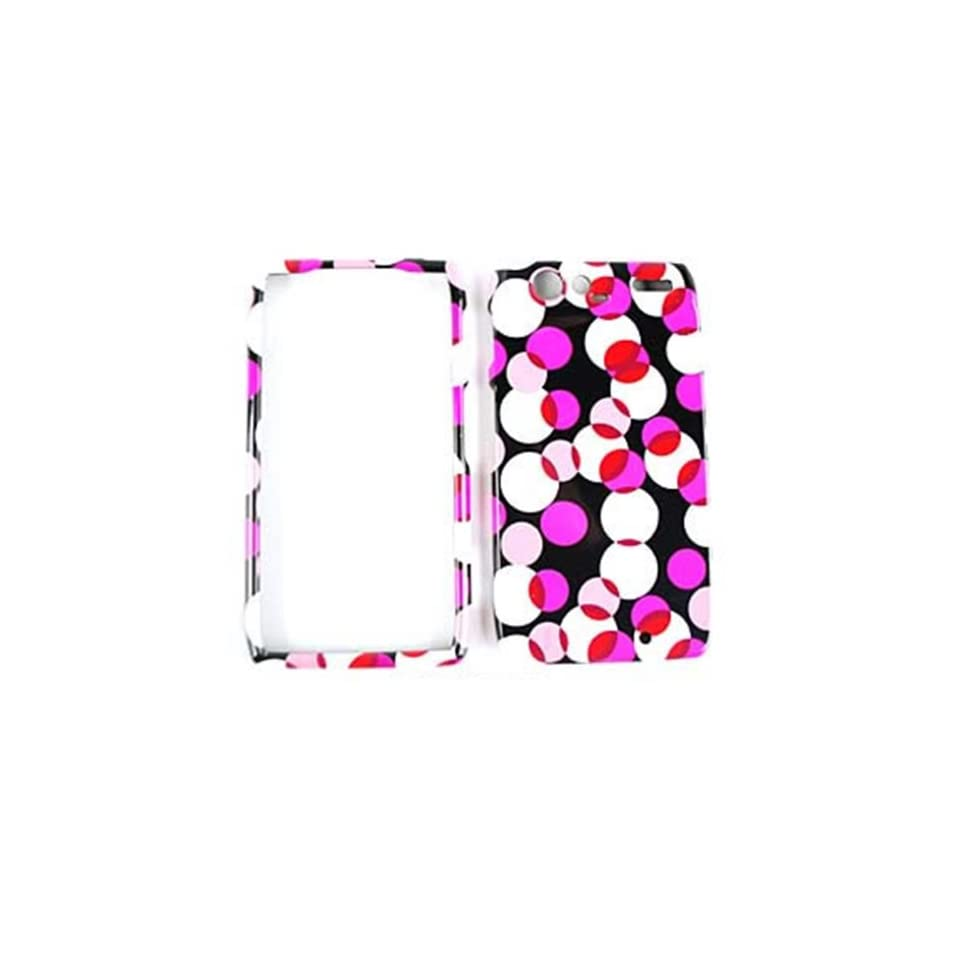 CELL PHONE CASE COVER FOR MOTOROLA DROID RAZR PINK POLKA DOTS ON BLACK