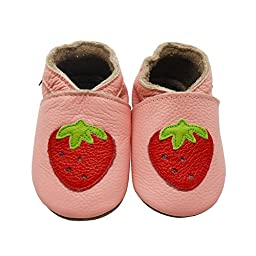 Sayoyo Baby Strawberry Soft Sole Leather Infant Toddler Prewalker Shoes (6-12 months, Pink)