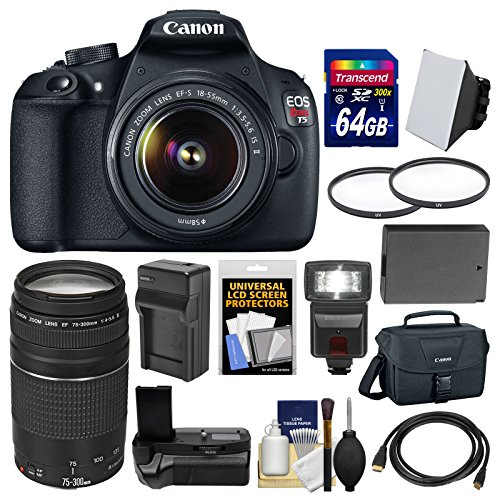 Canon EOS Rebel T5 Digital SLR Camera  &  EF-S 18-55mm IS II  &  75-300mm III Lens  &  Case with 64GB Card + Flash + Grip + Battery  &  Charger + Filters Kit