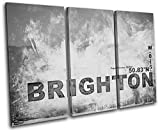 Bold Bloc Design - Brighton England City Typography - 60x40cm Canvas Art Print Box Framed Picture Wall Hanging - Hand Made In The UK - Framed And Ready To Hang