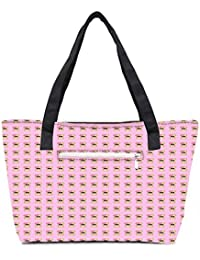Pack Of 2 Girly Toast Combo Tote Shopping Grocery Bag With Coin Pencil Purse