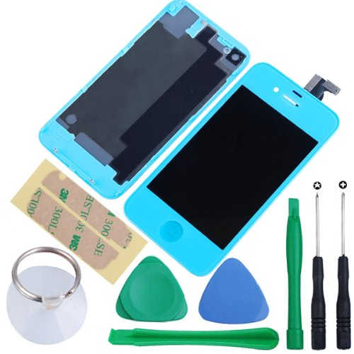 Generic Touch Screen Digitizer Glass With Flex Ribbon Cable & Lcd Display Assembly + Back Battery Cover + Home Button For Iphone 4 Cdma(Verizon/Sprint Only, Not Fits For Gsm At&T/T-Mobile) With Free Tools (Light Blue)