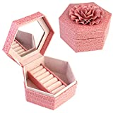 BlushBees Hexagon Leather Jewelry Box with Rose Flower Lid & Mirror, Color Shade - Coral Pink