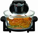 Big Boss Rapid Wave Halogen Infrared Convection Countertop Oven - 12 ½ Quart with Extender Ring Glass Bowl
