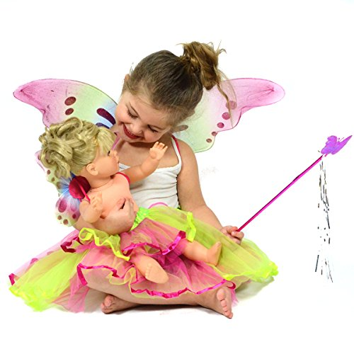 Fairy Princess Dress Up Pretend Play Colorful Glittery Costume Set for Girls and Dolls