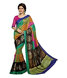 KRIZEL Multicolor Bhagalpuri Silk Saree With Blouse
