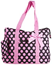 Ever Moda Polka Dot Extra Large Tote Bag with Coin Purse, Black and Pink
