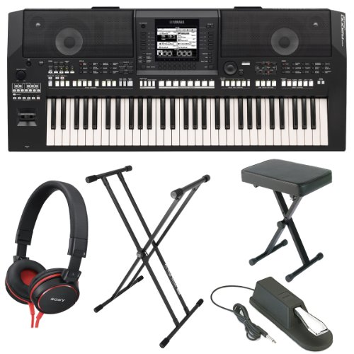 Yamaha Psra2000 61-Key Keyboard Production Station With Portable X-Style Bench, Double X-Style Keyboard Stand, Yamaha Piano Style Sustain Pedal And Headphones