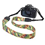 BIRUGEAR Camouflage Comfortable Camera Shoulder Neck Strap Belt for Canon Nikon FujiFilm Sony Pentax Panansonic and more Digital Cameras or Binoculars with Cleaning Cloth