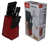 SCHAEFER® 15 tlg. Messerblock Set Messerset inkl. Steak Messer und Schleifer in 4 Farben sales by JOLTA® (Rot)