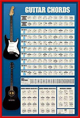 """Empire Educational-Poster Guitar Chords """"Versione 4, con cornice Cornice in plastica rosso"""