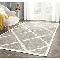 Safavieh Amherst Collection AMT421R Dark Grey and Beige Indoor/ Outdoor Area Rug, 4 feet by 6 feet (4\' x 6\')