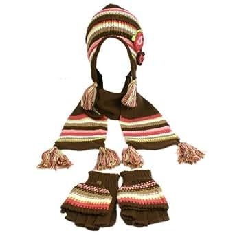 Winter Girls Kids Age 7-14 Knit Scarf Beanie Hat Cap Flip Gloves Ski Set Brown