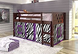 Kize Kids Tent Kits Curtain for Twin Loft Tent Bed (Purple Zebra)