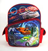 Disney Cars Backpack with Mcqueen, Snot Rod, Wingo, Boost and Wingo - 16in Cars Drift Crew RED and Blue Backpack