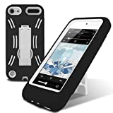 Lumii Ark PC + TPU Hybrid 2 in 1 HeavyDuty Design Case with Kick Stand for Apple iPod Touch 5th Generation - Black/White