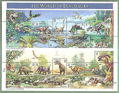 The World Of Dinosaurs, Full Sheet of 15 x 32-Cent Postage Stamps, USA 1997, Scott 3136 - 1