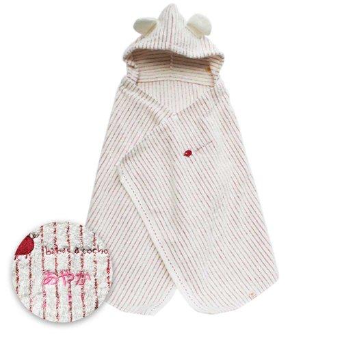今治産タオル コンテックス 名入れ刺繍代込 ミルフィーユ フード付きバスタオル オーガニックコットン(レッド,0~3歳用,1枚) 専用ギフトボックス、オリジナルのし・メッセージカード対応
